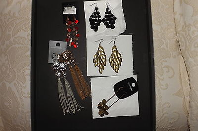 Job lot of 6 pairs of  drop/dangle earrings. Very Good Condition
