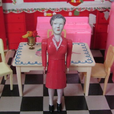 Vtg 40s 50s RENWAL MOTHER DOLLHOUSE DOLL Lady Pink Dress No 43 Plastic 1940s
