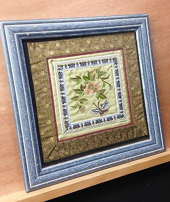 Vintage Chinese Silk Embroidery / Butterfly / Floral / Framed / Picture / Art
