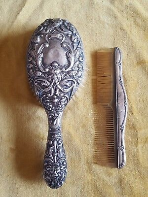 Antique Sterling Silver Hallmarked Ormate Repousse Brush & Comb.1919 & 1921
