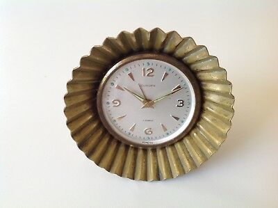 Vintage 1960's Europa Brass Mantle 4 Jewelled Mechanical Alarm Clock