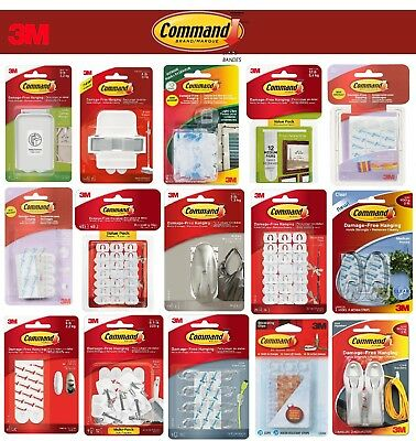 3M COMMAND Strips Small, Medium, Large For Damage Free Picture / Poster Hanging