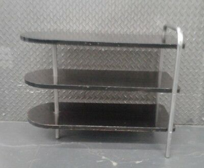 Wolfgang Hoffman Machine Age Art Deco Three Tier Side Table Lacquer and Chrome