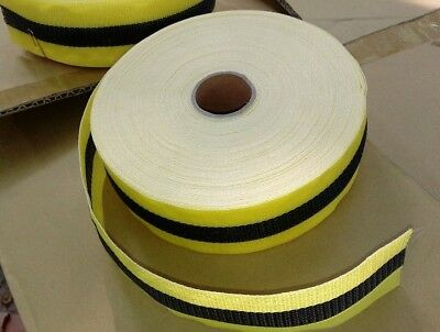 """2 Durable Woven Poly Barricade Webbing Tape Yellow & Black 2"""" X 150' - 50 Yards"""