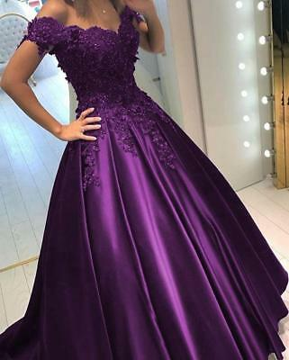 New Ball Gowns Prom Dresses Lace Beads Long Satin Evening Dresses Pageant Dress