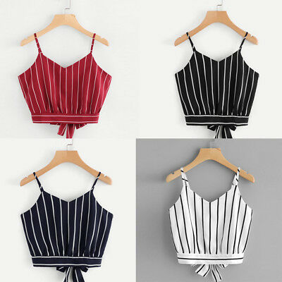 Fashion Women's Camisole Blouse Bows Self Tie Back V Neck Striped Crop Cami Tops