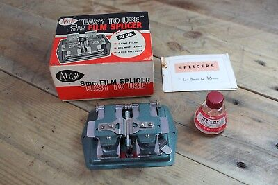 Vintage Arrow 8mm Film Splicer With Original Box and Cement