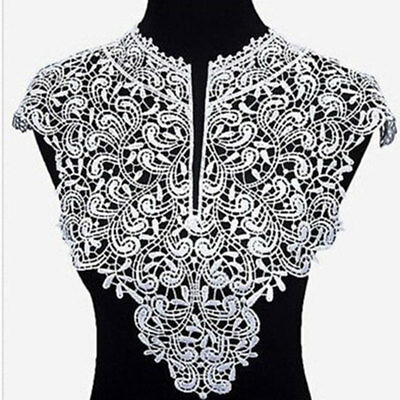 1PC Applique Lace Fabric Sewing Craft Embellishments Trims DIY Neck Collar White