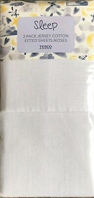 2 Pack White Jersey Cotton Fitted Moses Basket Sheets * Tesco * NEW
