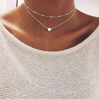 Women Jewelry GF Pendant 925 Silver Gold Heart Choker Chunky Chain Bib Necklace