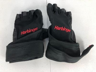 Harbinger Pro Wristwrap Weightlifting Gloves Vented Cushioned Leather Palm Sz Lg