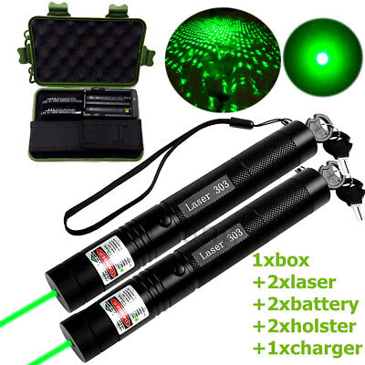 Powerful 1mW Red Laser Pen Pointer Kit Zoom Beam &18650 Battery Charger 532nm
