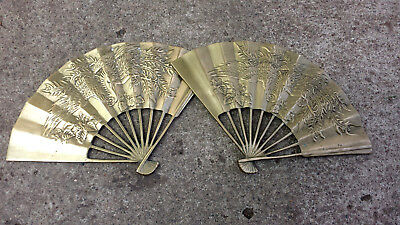 Vintage Chinese Asian Brass Fan Pheasant Bird 12""