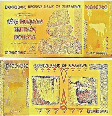 5 X Zimbabwe 100 TRILLION Dollars Banknote 24k FOIL BANK NOTE Collectible 5X