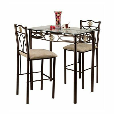 Crown 3 Piece Glass Top Counter Height Pub Table Set