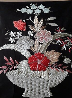 stunning antique edo period Japanese  embroidery on black silk panel floral