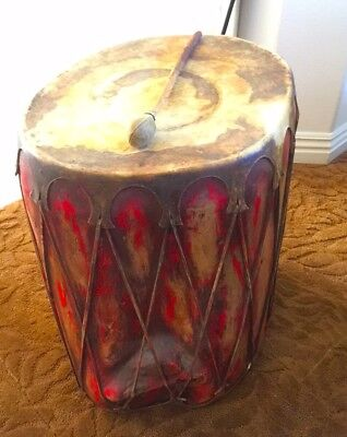 VINTAGE PUEBLO INDIAN PAINTED WOOD DRUM  - nice + old  + NR !