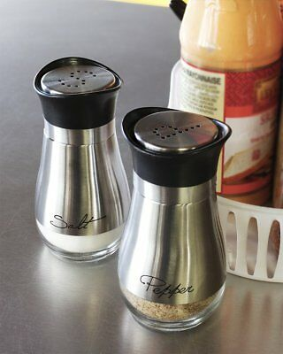 "4"" Elegant Stainless Steel Salt and Pepper Shakers Set with Clear Glass Bottom"