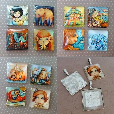 Pack of 4 Glass 25mm Square Cabochons Mix or pack of 4 square settings (no cabs)