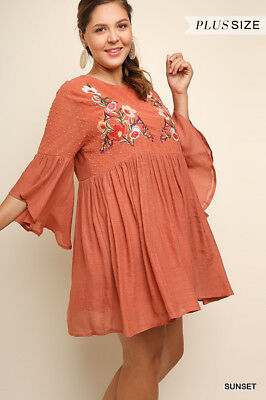 UMGEE Floral Embroidered Polka Dot Burnout Bell Sleeve Dress Plus Size XL