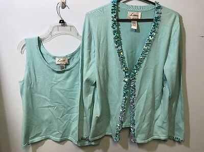 Linea By Louis Dellolio Blouse Sweater Lot Baby Blue Color Bling Design