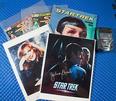 Star Trek collectibles, comics, autographs, coloring book and tricorder