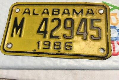 Vintage Alabama Motorcycle License Plate 1986 M 42945 Tag Yellow