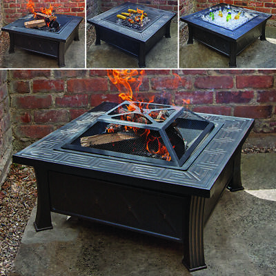 Black Garden Patio Square Firepit Heater Outdoor Chimenea Bowl Fire Pit Bbq Wido