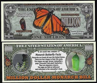 Lot of 25 Bills - Monarch Butterfly Million Dollar Novelty Bill with facts