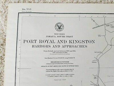 Old nautical map of South coast of Jamaica , PORT ROYAL and KINGSTON