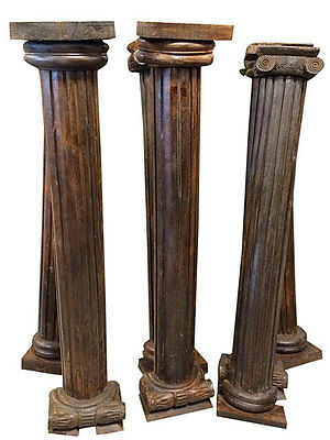Antique Teak Columns Pair Pilasters Wooden Architectural Pillars