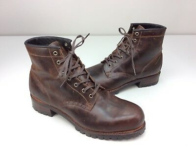 7b393441152e2 FRYE Addison Lug Lace up Ankle Boots Dark Brown Leather Size 10.5 D Men s