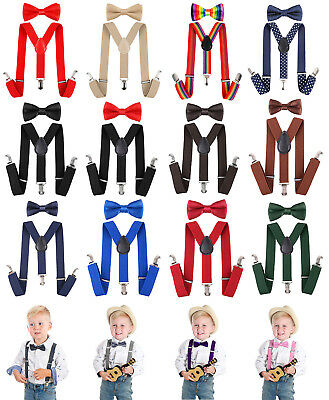Elastic Adjustable Suspender and Bow Tie Matching Set for Boys Girls Child Kids