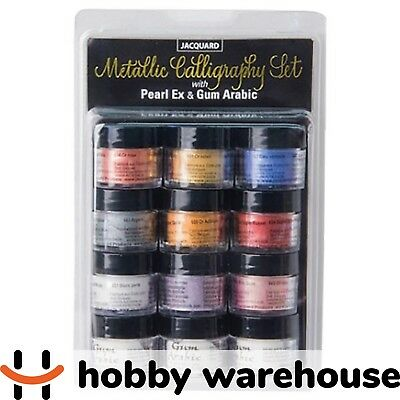 Jacquard Metallic Calligraphy Set with Pearl Ex and Gum Arabic