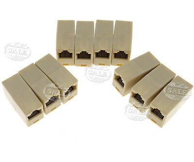 10x RJ45 CAT5e Network LAN Cable Extension Coupler Joiner Connector Adapter AU