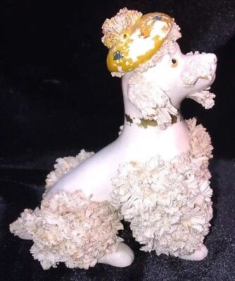 Vintage THAMES Ceramic White Spaghetti Poodle Figurine In Sitting Pose-very Rare