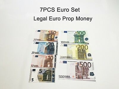 Euro Banknote Set, prop, novelty, fake, play money, single sided. Size:75%, 7PCS