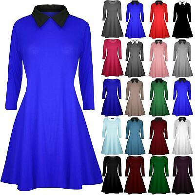 New Ladies Womens Casual Peterpan Collared Maternity Flared Swing Skater Dress