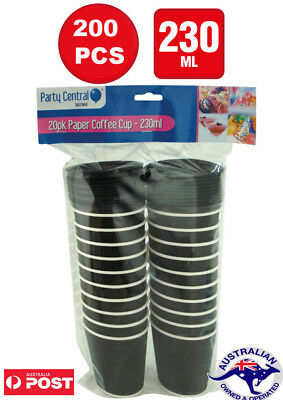 200 Pcs Disposable Coffee Cups Lids 12 oz  230ml Take Away Bulk wholesale