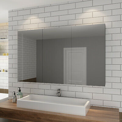 Bathroom Mirror Cabinet 1200 Stainless Steel Storage Shaving Makeup Wall Hung