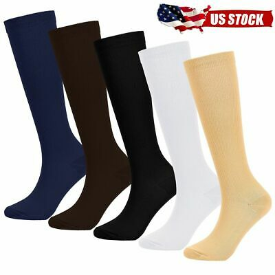 5 Pairs Men's Women's Compression Socks Stockings Graduated Support (S-XXL)