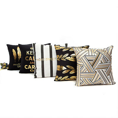 45x45cm Gold Foil Letters Printing Sofa Pillow Case Waist Throw Cushion Cover