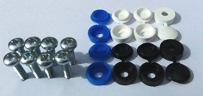 Front Euro Number Plate screw caps / covers black white blue set / kit - Licence