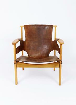 """Vintage Swedish """"trienna"""" Oak & Leather Lounge Chair By Carl Axel Acking"""