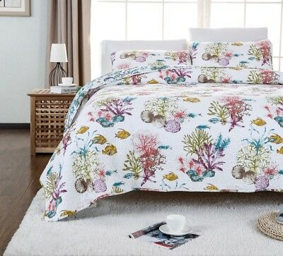 100% Cotton Reversible  Quilted Bedspread/Coverlet Queen Size  3pcs Set 1601