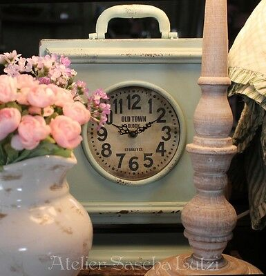 """Clayre & eef Beautiful Vintage Retro Clock Table Turquoise """" Old Town """" 31cm New"""