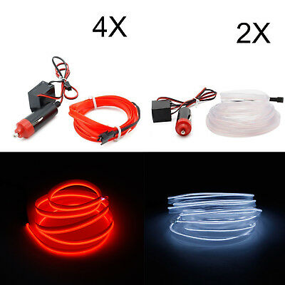 Auto Kein LED EL Ambientebeleuchtung Innenraumbeleuchtung 2x3M weiß 4x1M Rot