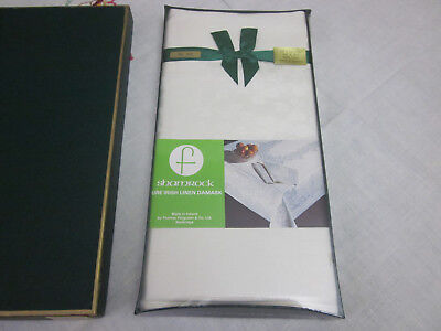 Unused Boxed Pure Irish Linen Shamrock Damask Tablecloth