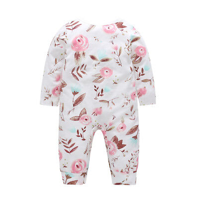 Infant Baby Girls Floral Print Long Sleeve Cotton Romper Jumpsuit Clothes Classy