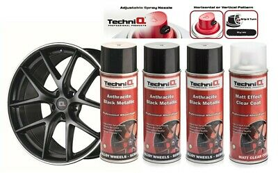 Alloy Wheel Spray Paint Anthracite Black Metallic x 3 + MATT EFFECT CLEAR COAT